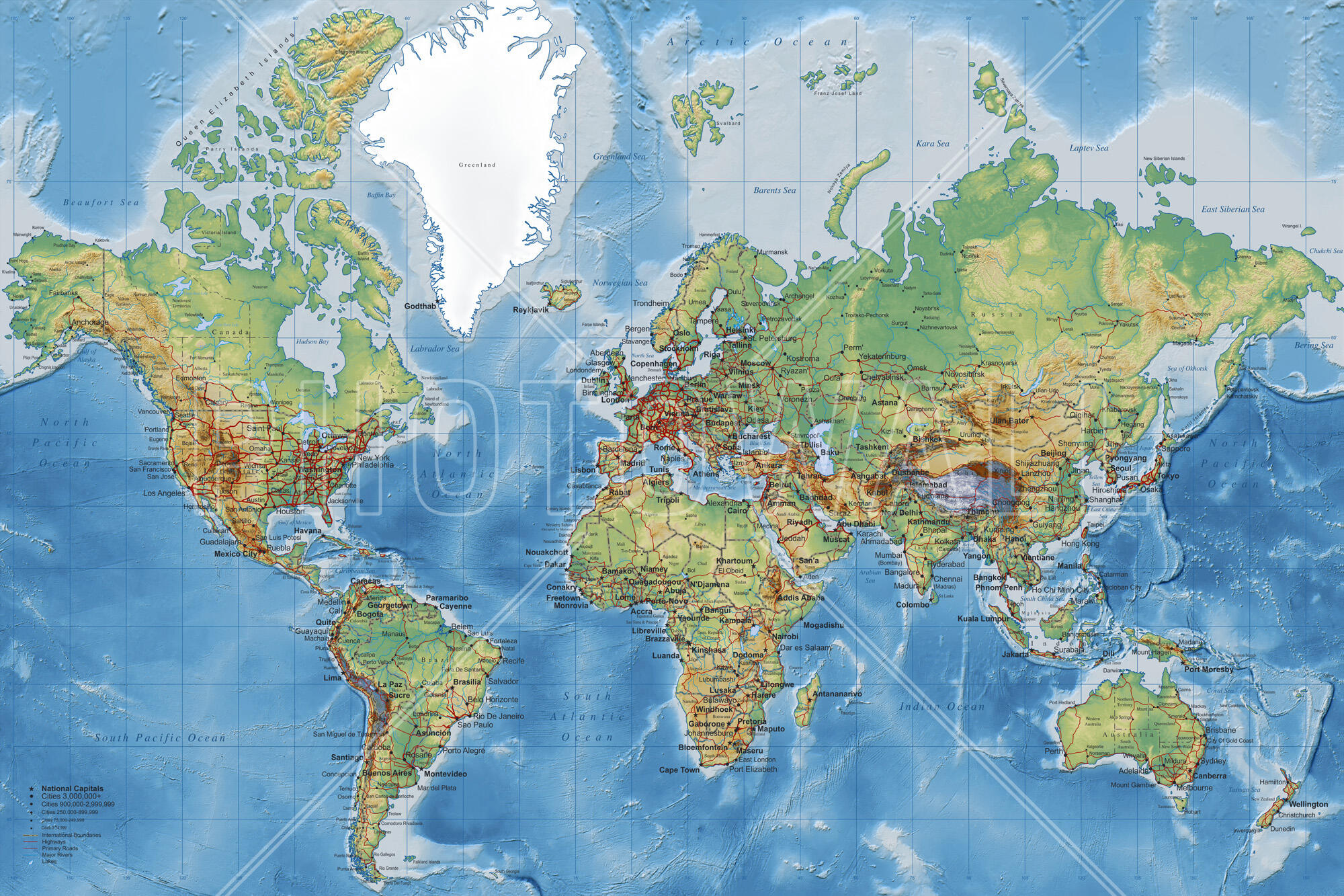 World Map Detailed Popular Wall Mural Photowall