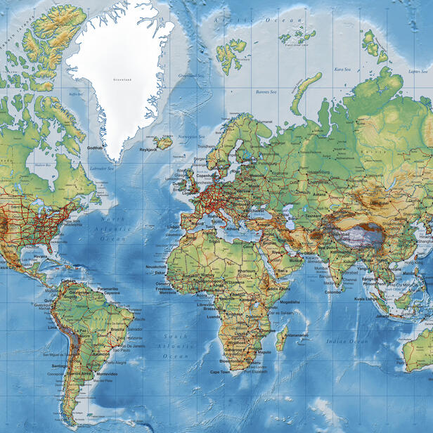 World Map - Detailed with Roads - Grey – Fototapete nach Maß – Photowall