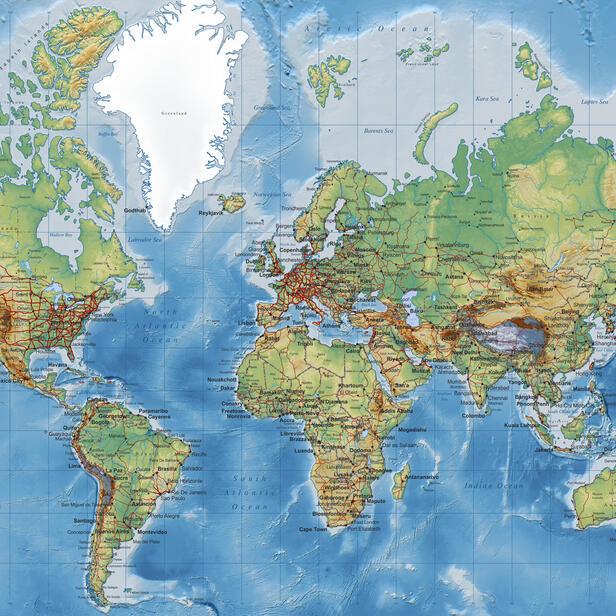 World Map Detailed Popular Wall Mural Photowall