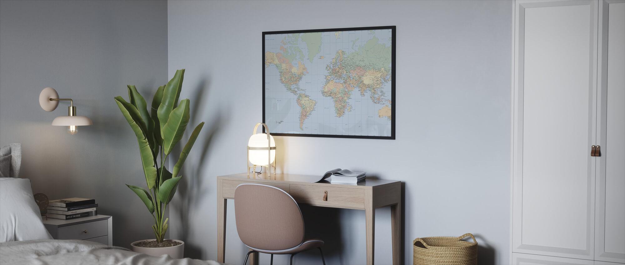 Wereldkaart - Ingelijste print - Slaapkamer