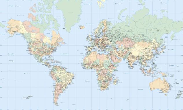 Glimrende Verdenskart – trendy bilder på lerret – Photowall DM-33