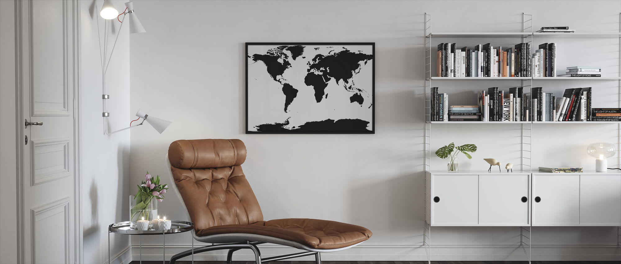 Världskarta - Inramad tavla - Vardagsrum