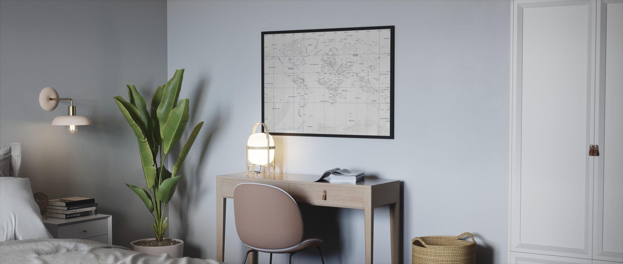 World Map - Framed print - Bedroom
