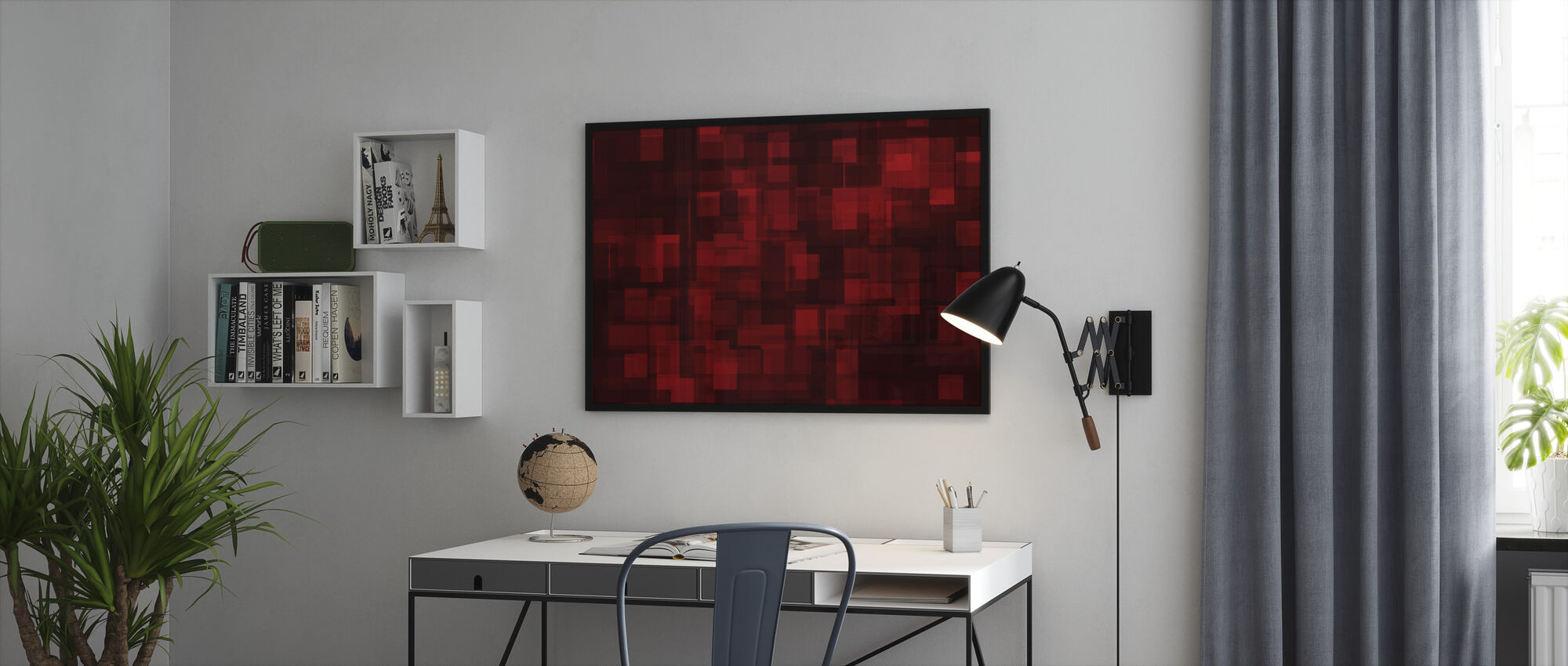 Chaotic Red - Framed print - Office