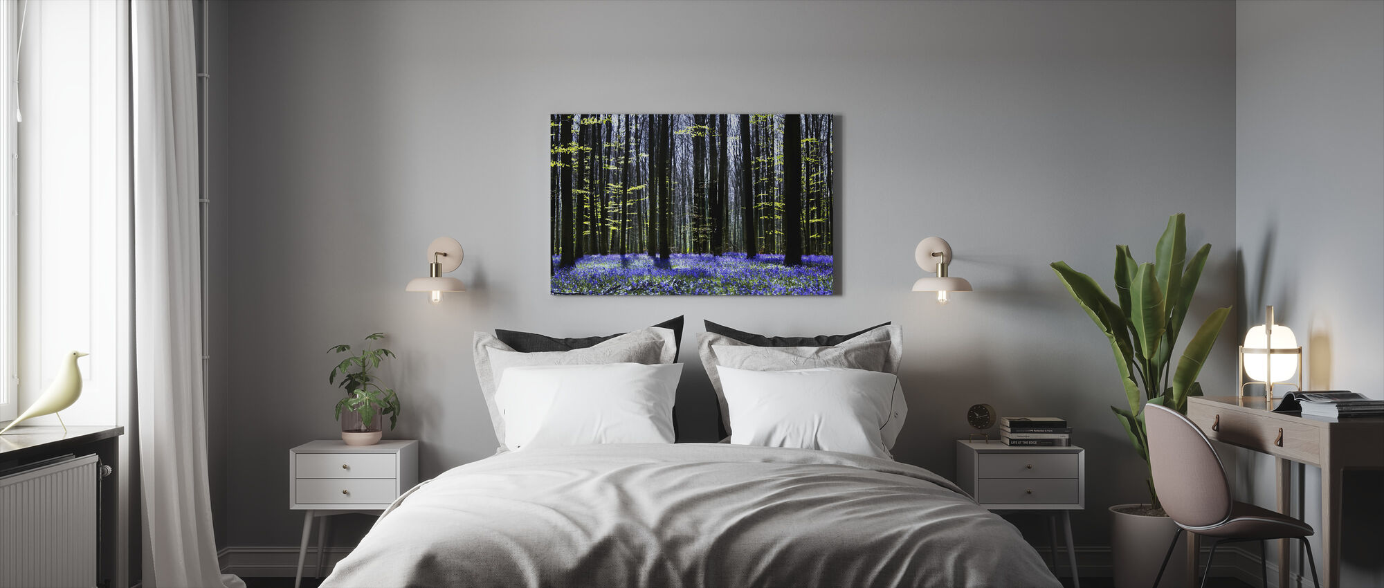 Dark Tree and Bluebells - Canvas print - Bedroom