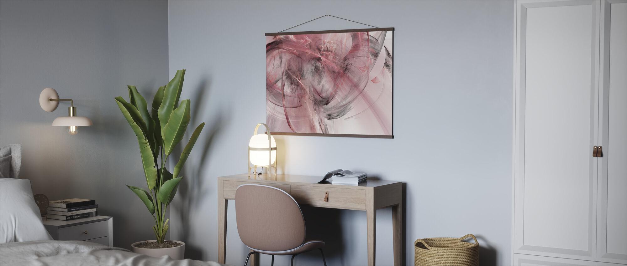 Vaaleanpunainen mökki - Juliste - Toimisto