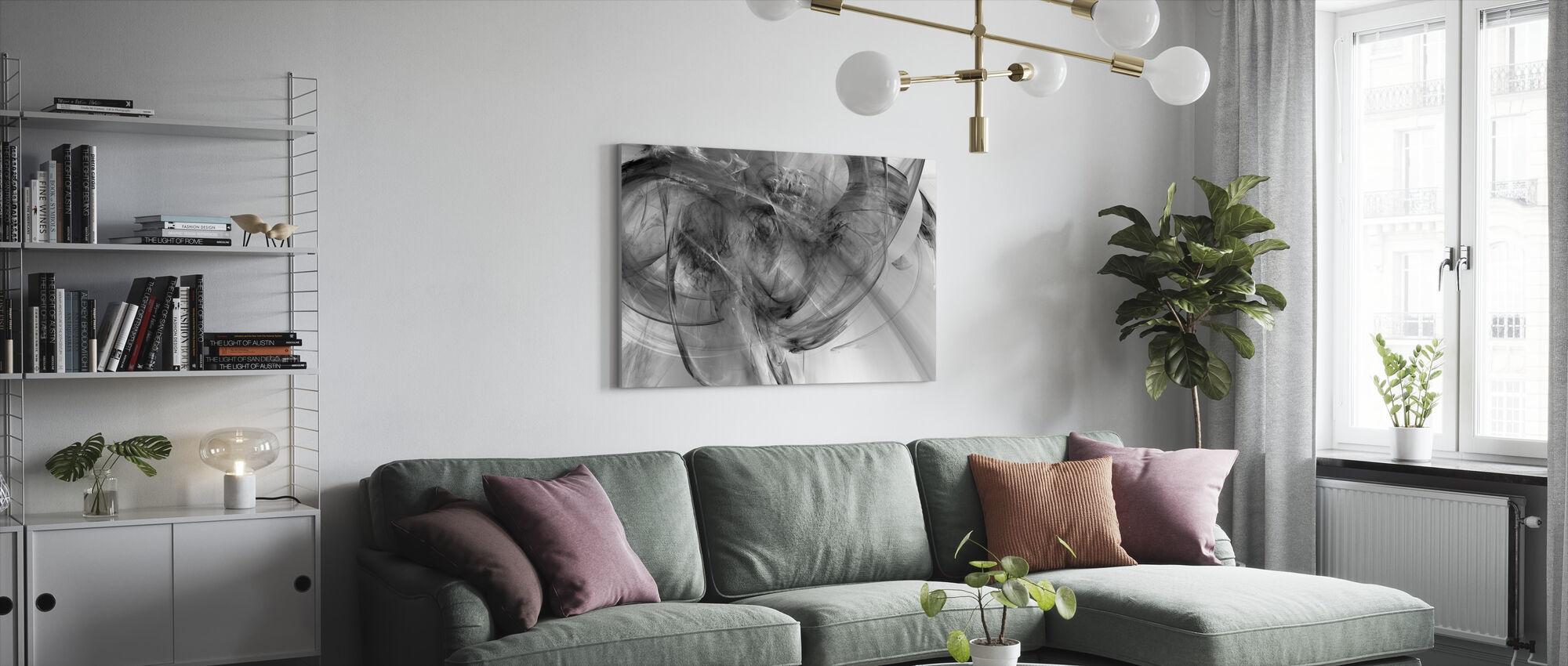 Rosa hytte - Lerretsbilde - Stue