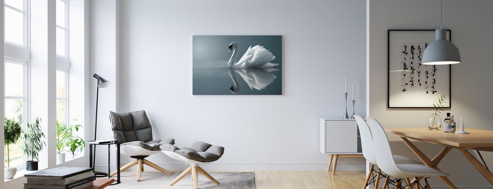 Swan Reflektion - Canvastavla - Vardagsrum