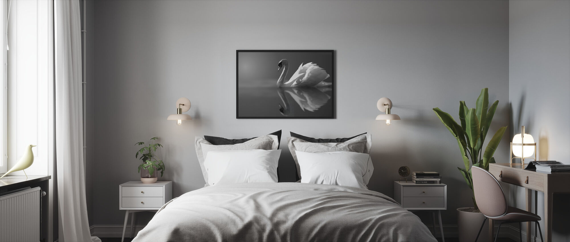 Swan Reflection - Framed print - Bedroom