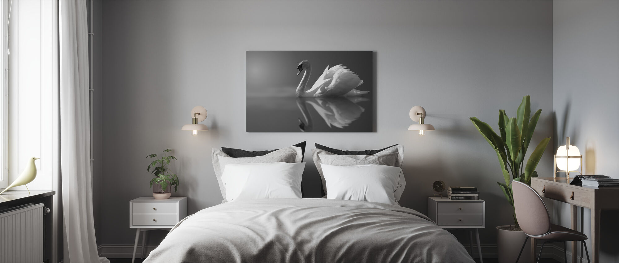 Swan Reflection - Canvas print - Bedroom