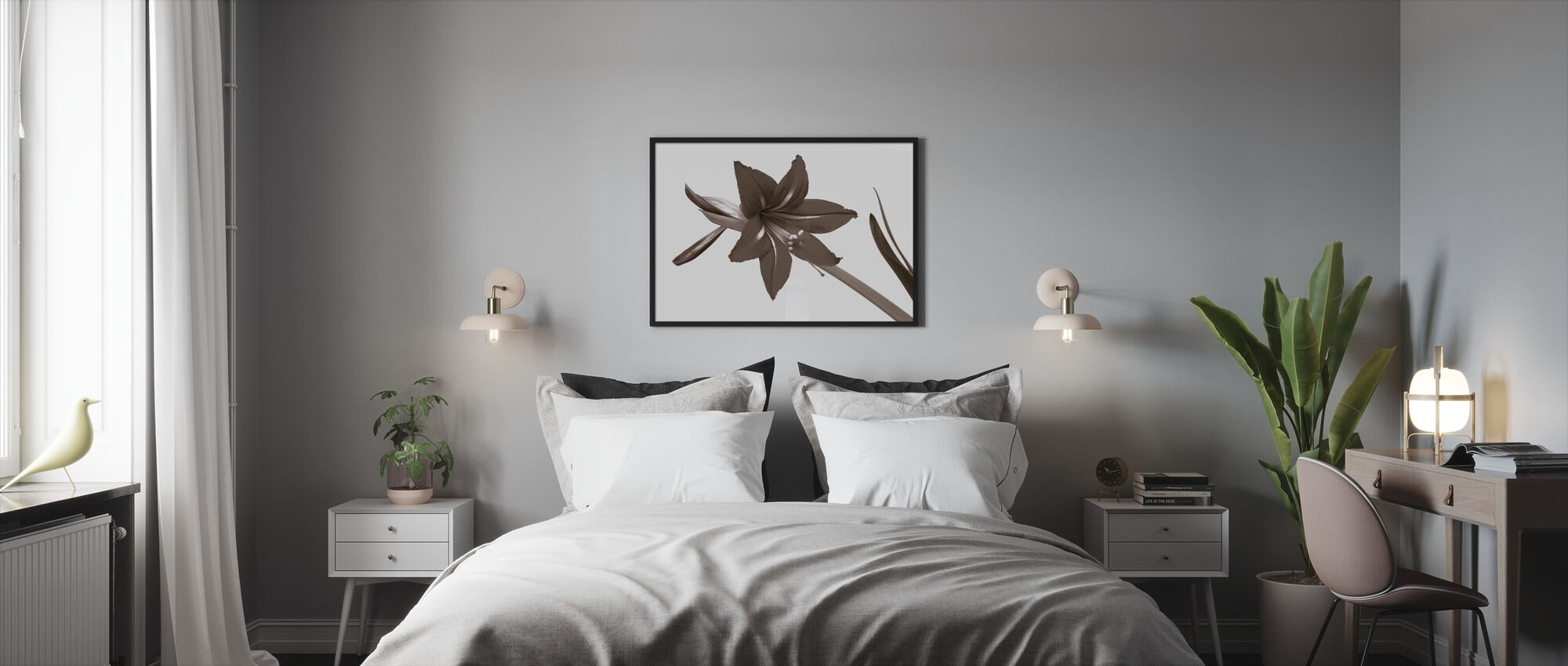 Red Lily - Sepia - Framed print - Bedroom