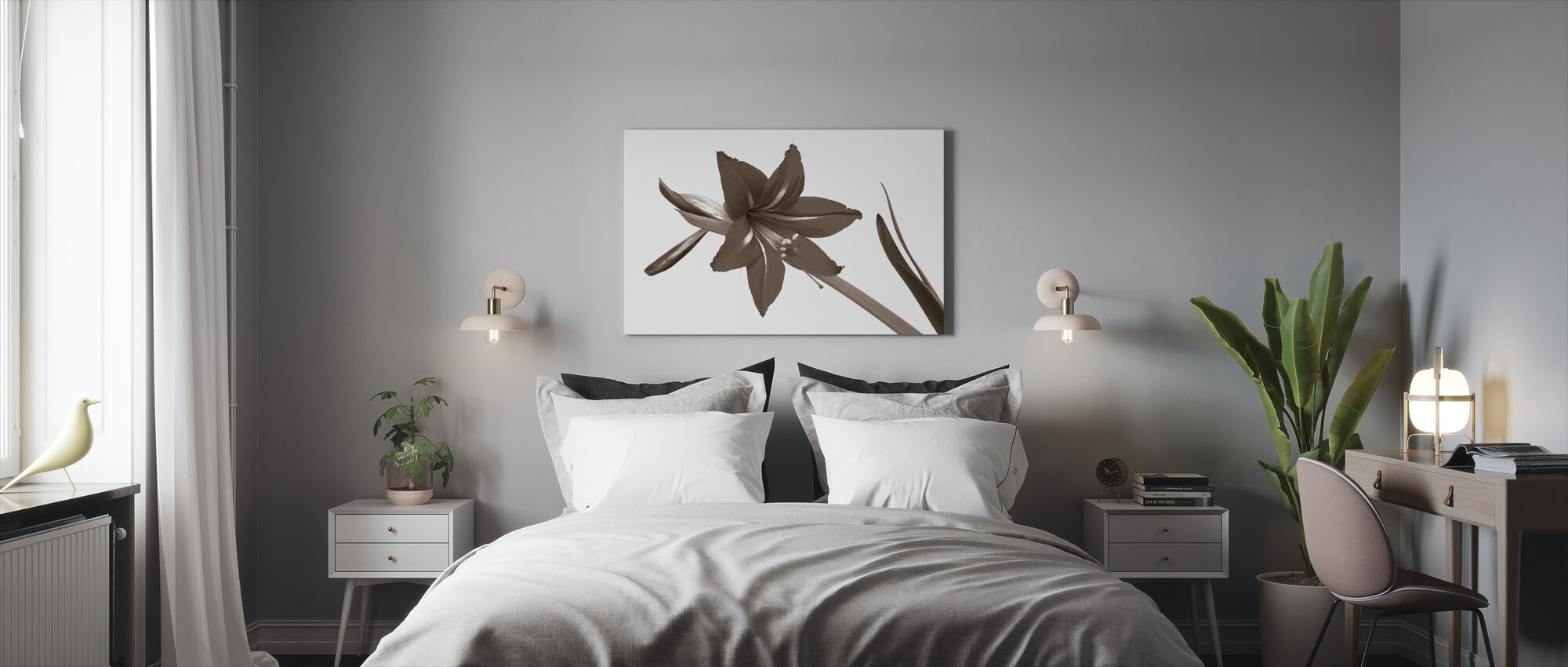 Red Lily - Sepia - Canvas print - Bedroom