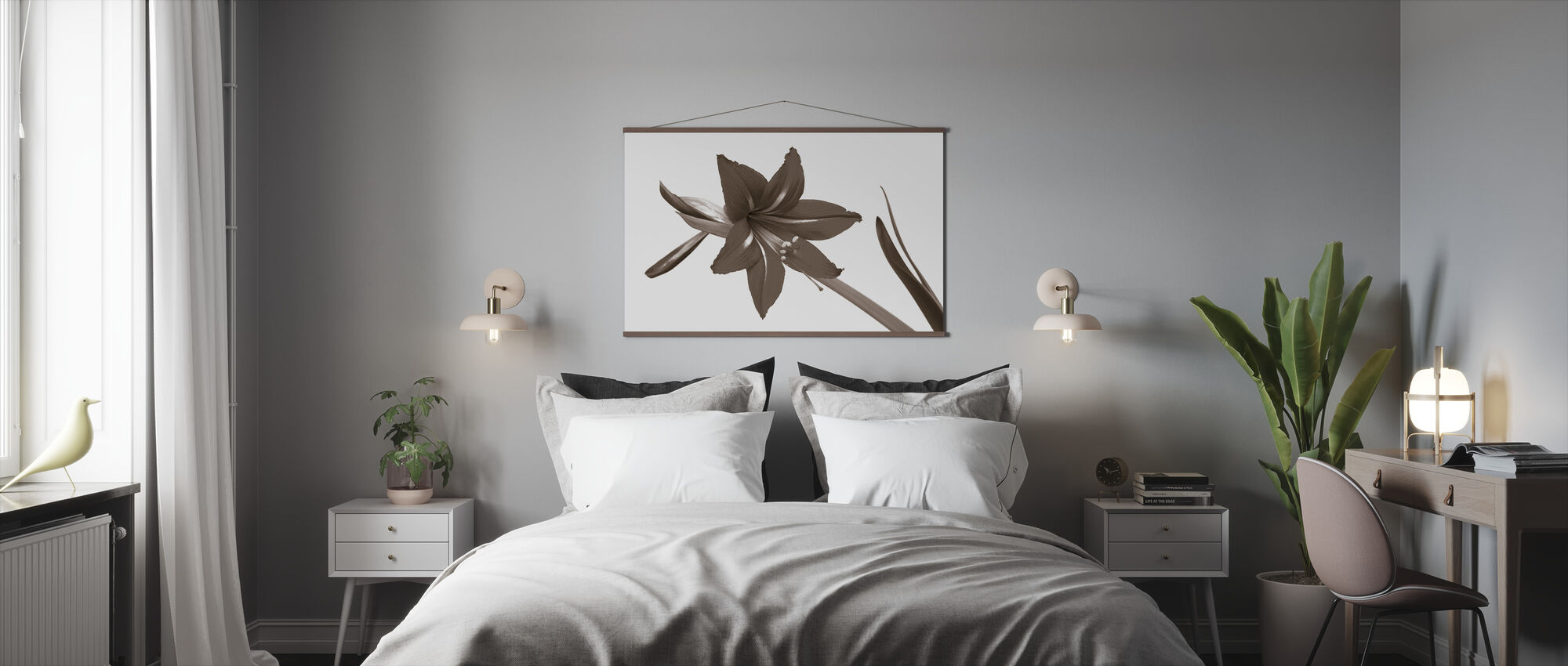 Red Lily - Sepia - Poster - Bedroom