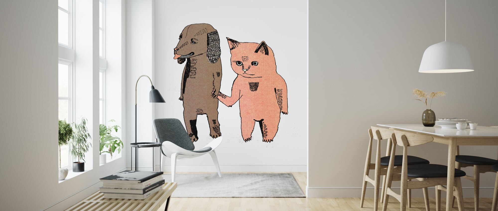 Cat and Dog - Wallpaper - Living Room