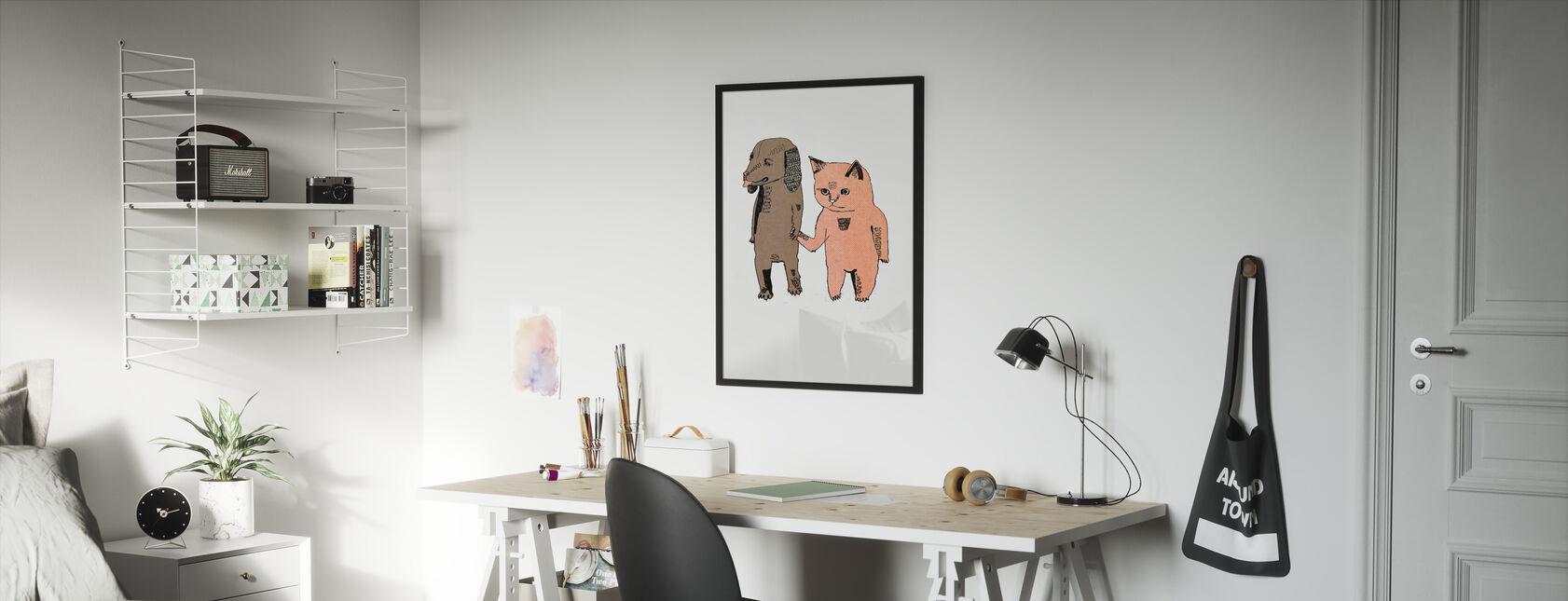 Cat and Dog - Framed print - Kids Room