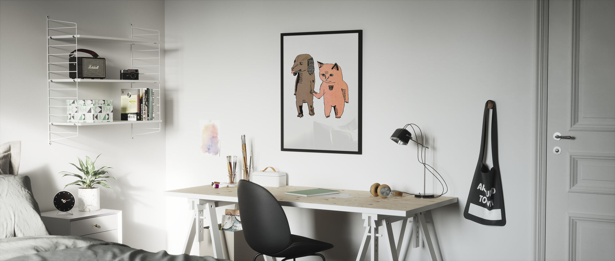 Cat and Dog - Framed print - Kids Room