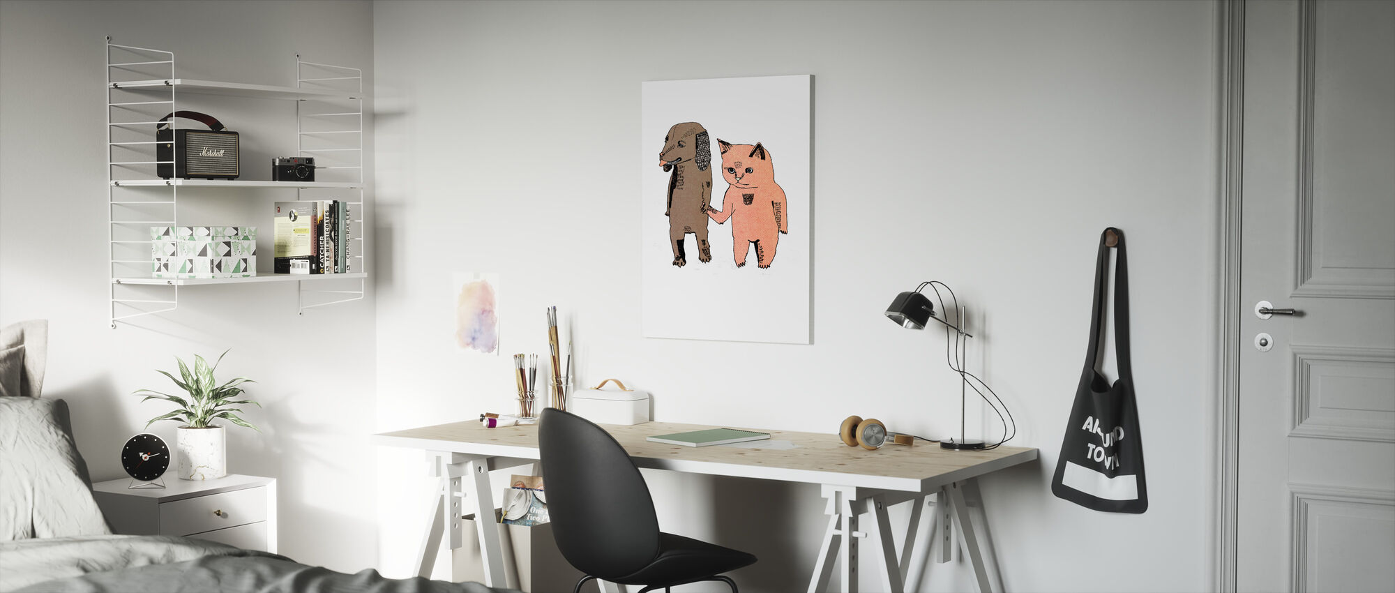 Cat and Dog - Canvas print - Kids Room