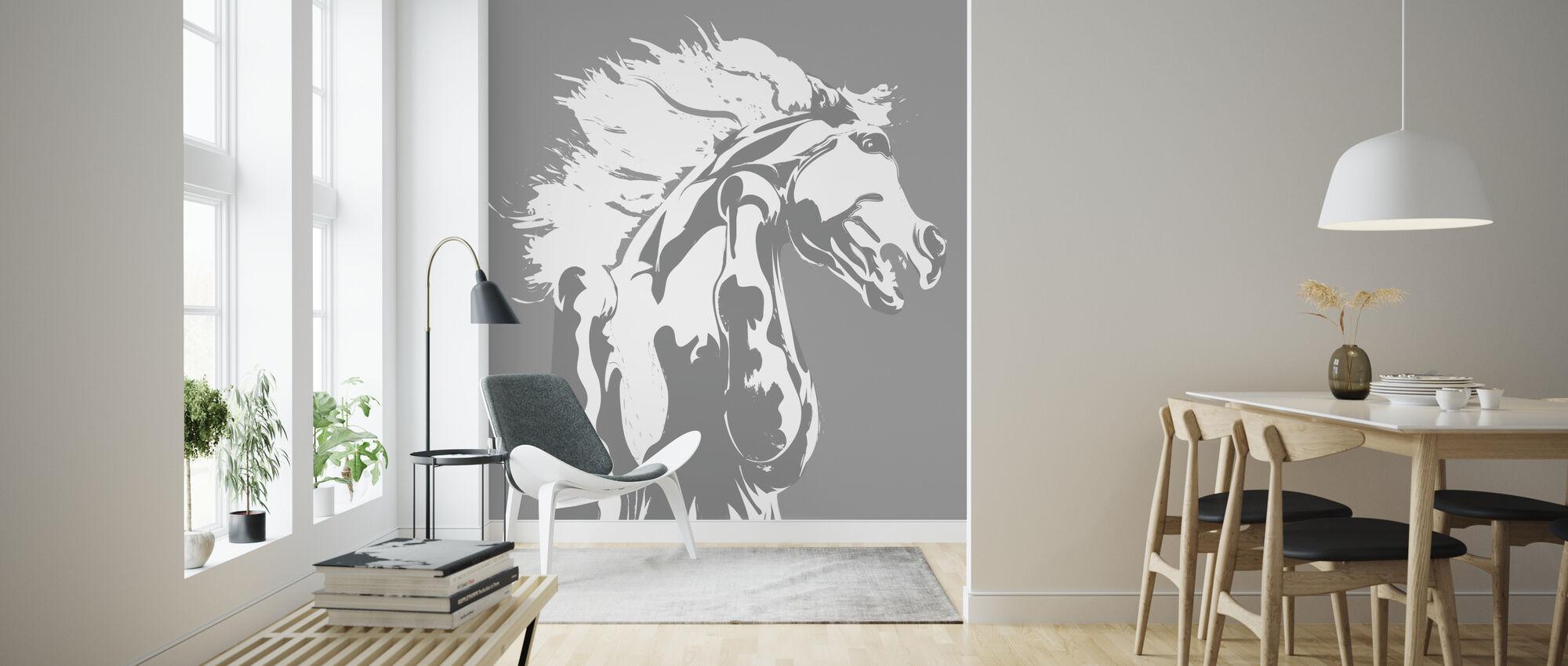 Never Tamed - Light Grey - Wallpaper - Living Room