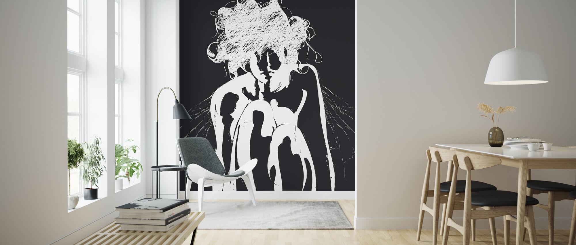 Tinker - Black - Wallpaper - Living Room