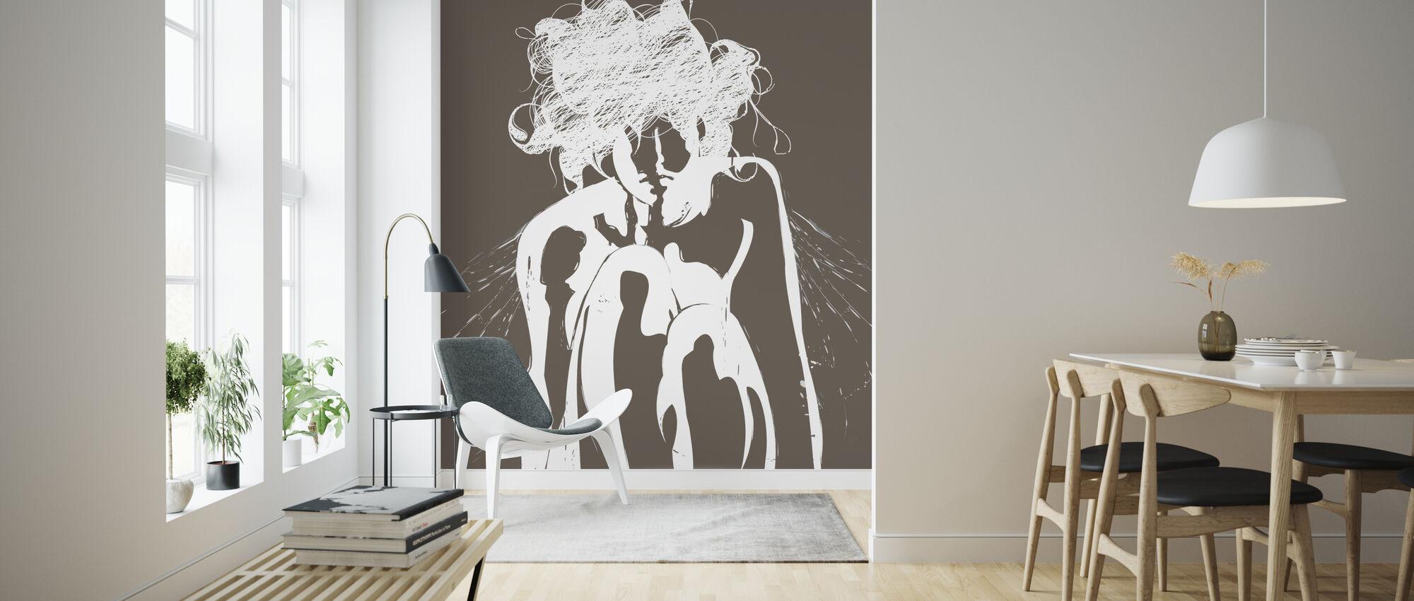 Tinker - Brown - Wallpaper - Living Room
