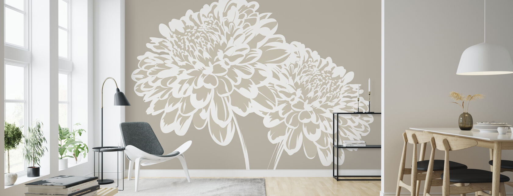 Blossom my Heart - Light Beige - Wallpaper - Living Room