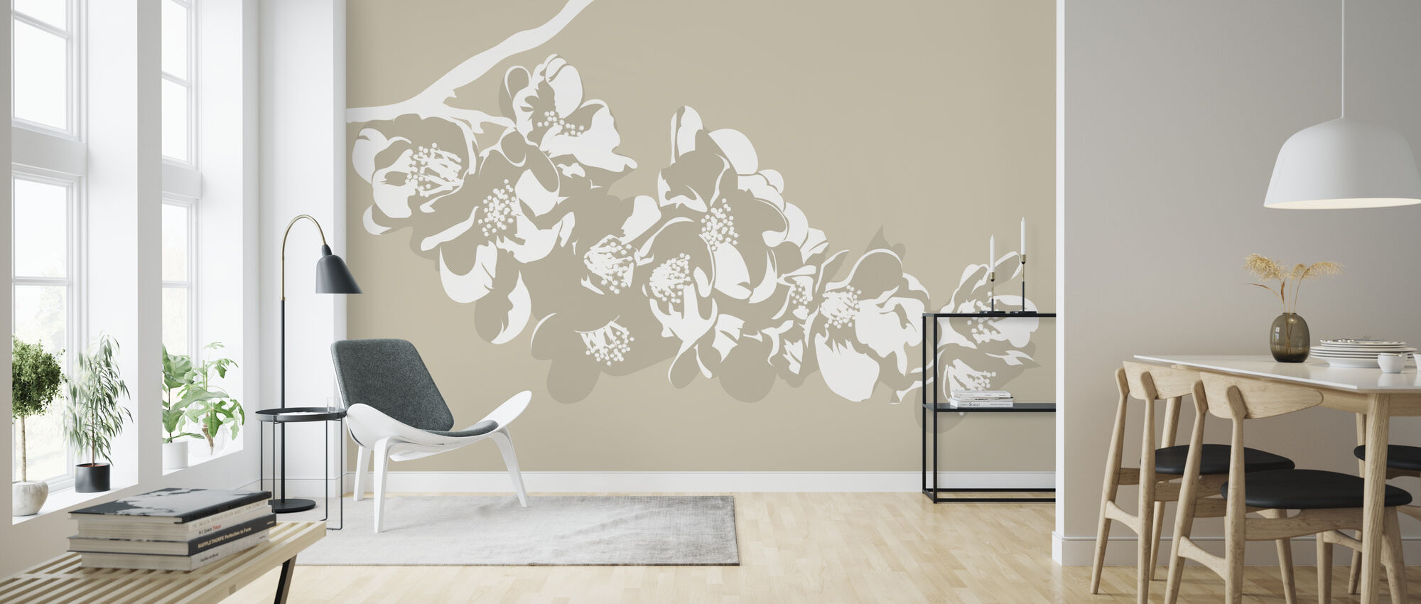 Flora Light Beige - Wallpaper - Living Room