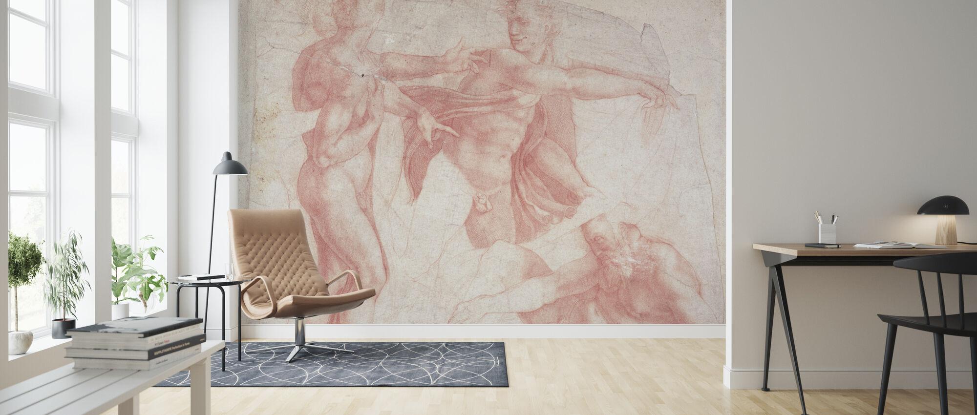 Études des nus masculins - Michelangelo Buonarroti - Papier peint - Salle à manger