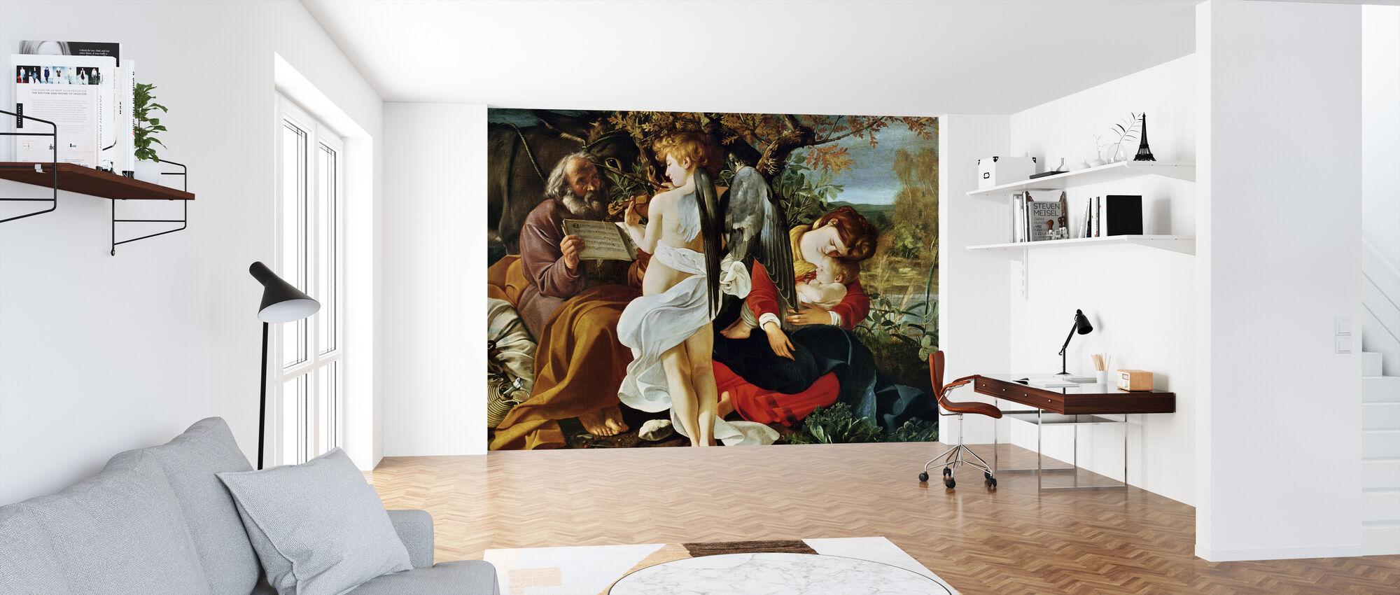 Reposez-vous sur le vol en Egypte - Michel-Ange Merisi da Caravaggio - Papier peint - Bureau