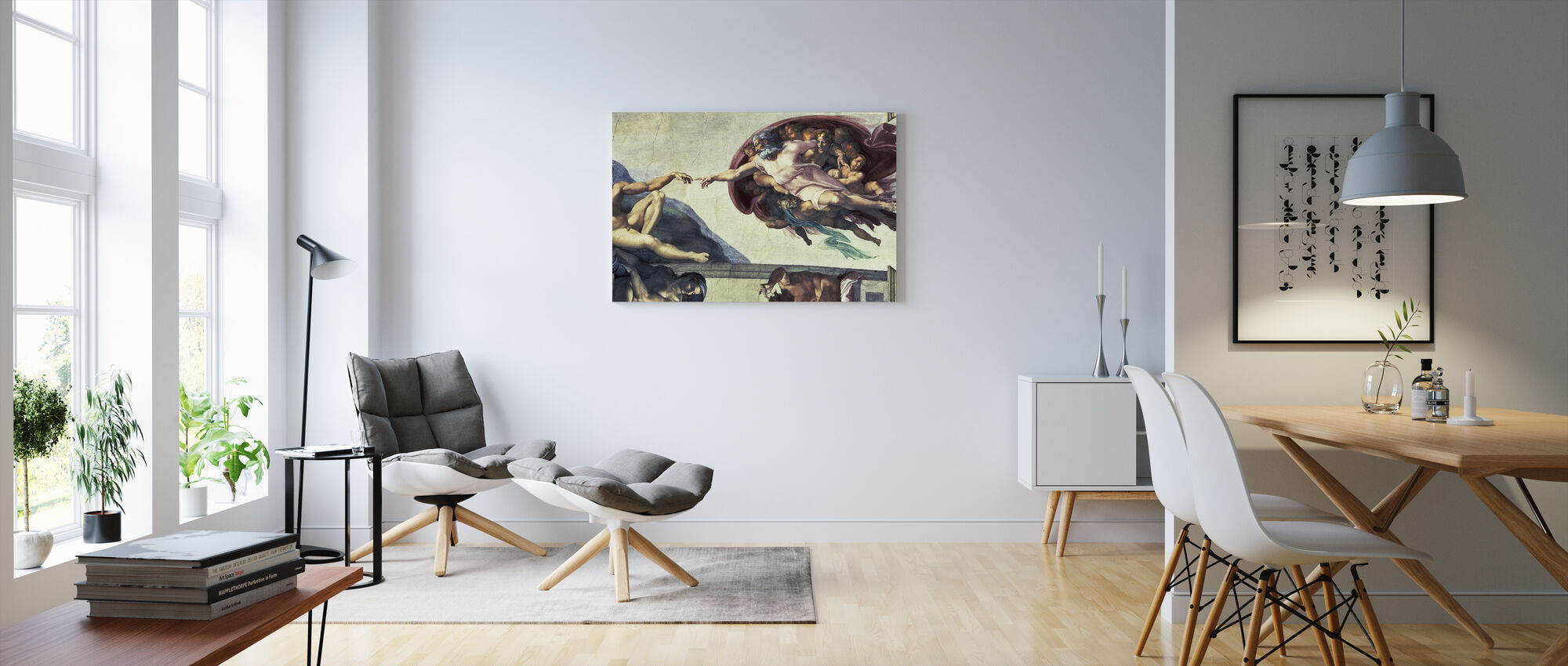Luominen Adam - Michelangelo Buonarroti - Canvastaulu - Olohuone