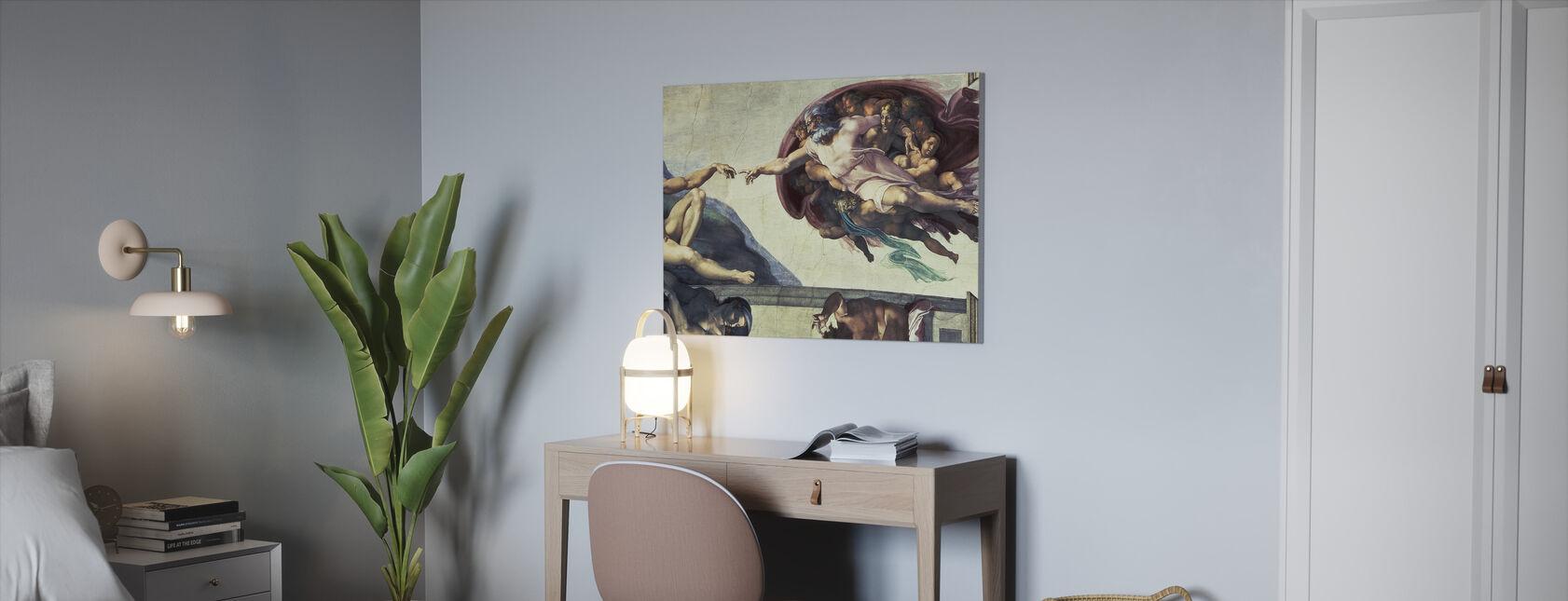 Oprettelse af Adam - Michelangelo Buonarroti - Billede på lærred - Kontor