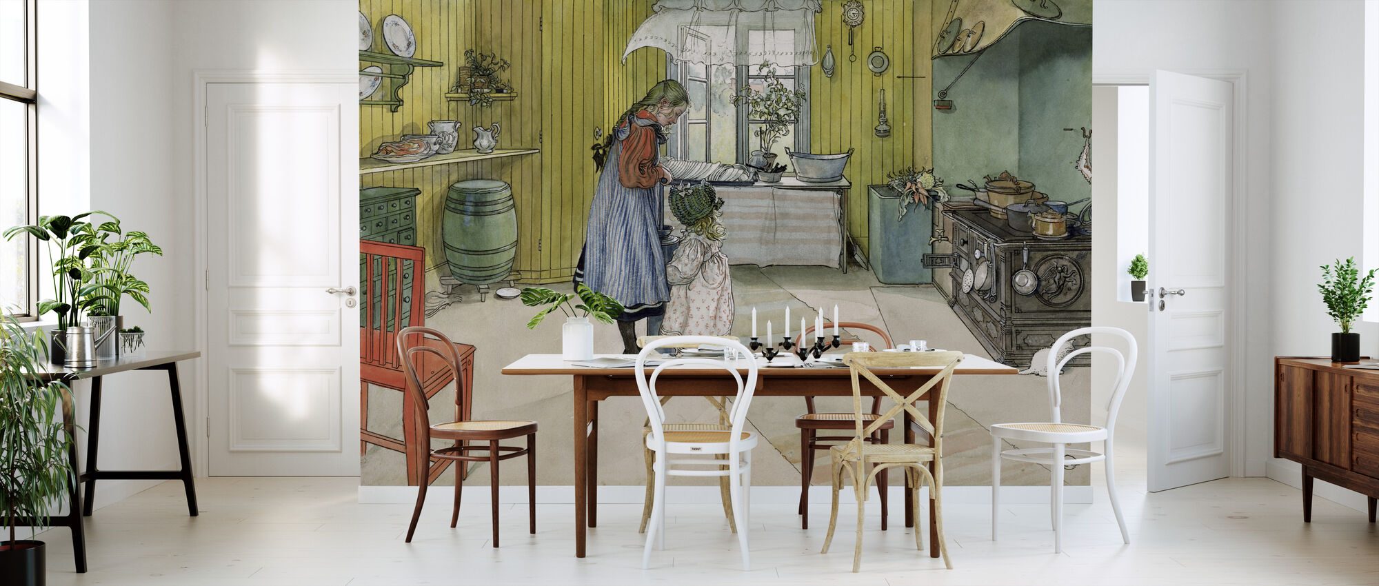 From a Home - Carl Larsson - Wallpaper - Kitchen