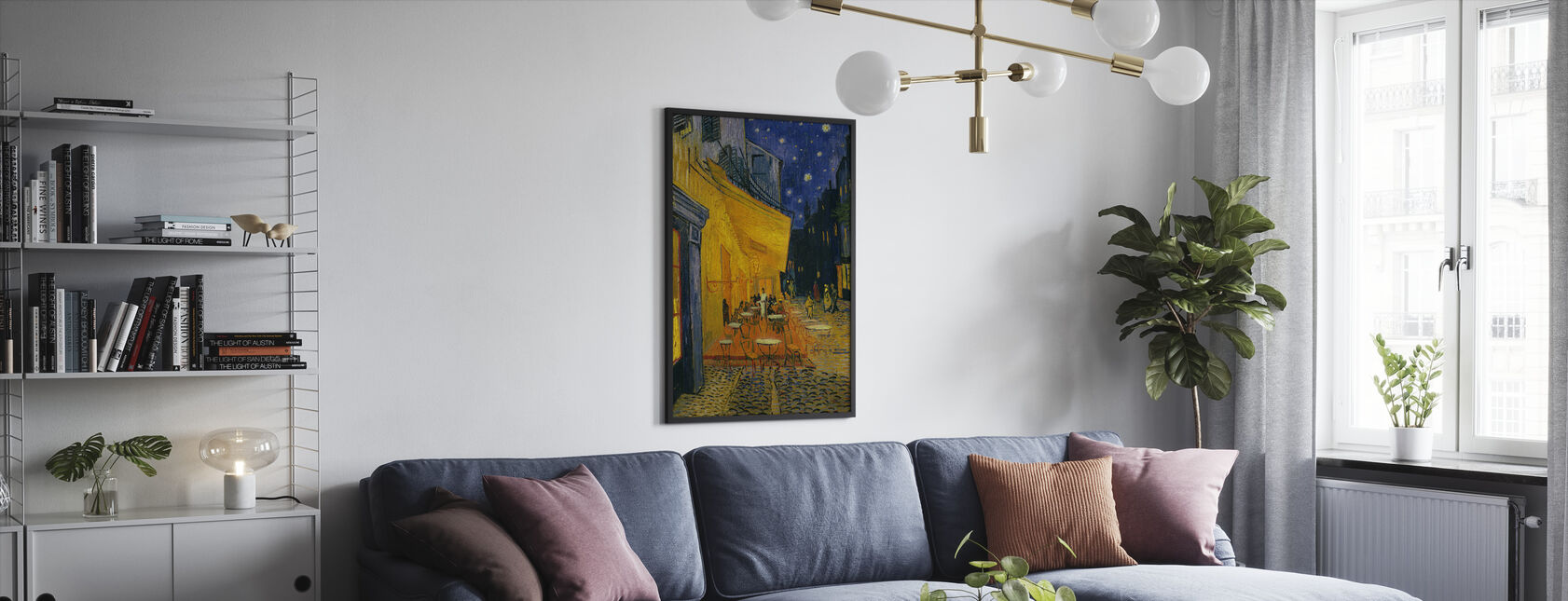 Kafé terrasse - Vincent van Gogh - Innrammet bilde - Stue