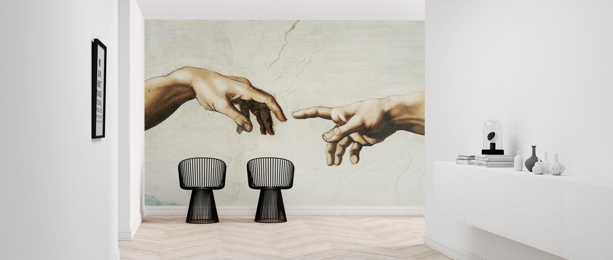 Michelangelo Buonarroti - Schepping van Adam - Behang - Gang