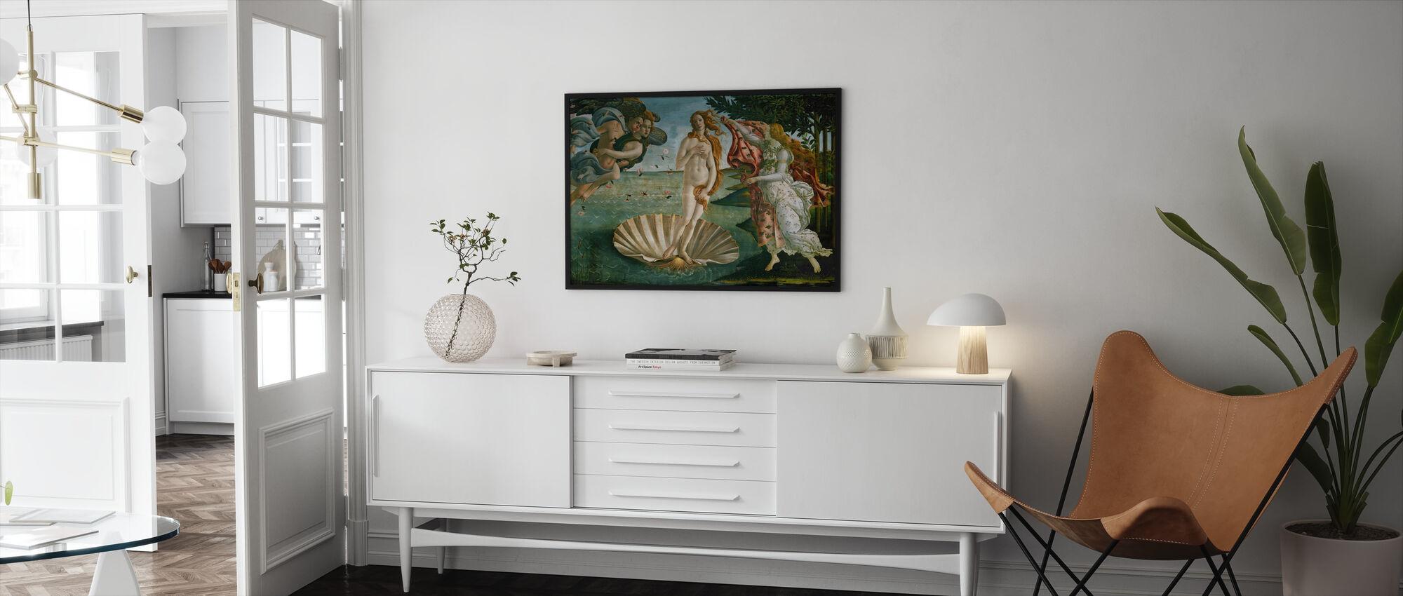 Sandro Botticelli - Venuksen syntymä - Kehystetty kuva - Olohuone