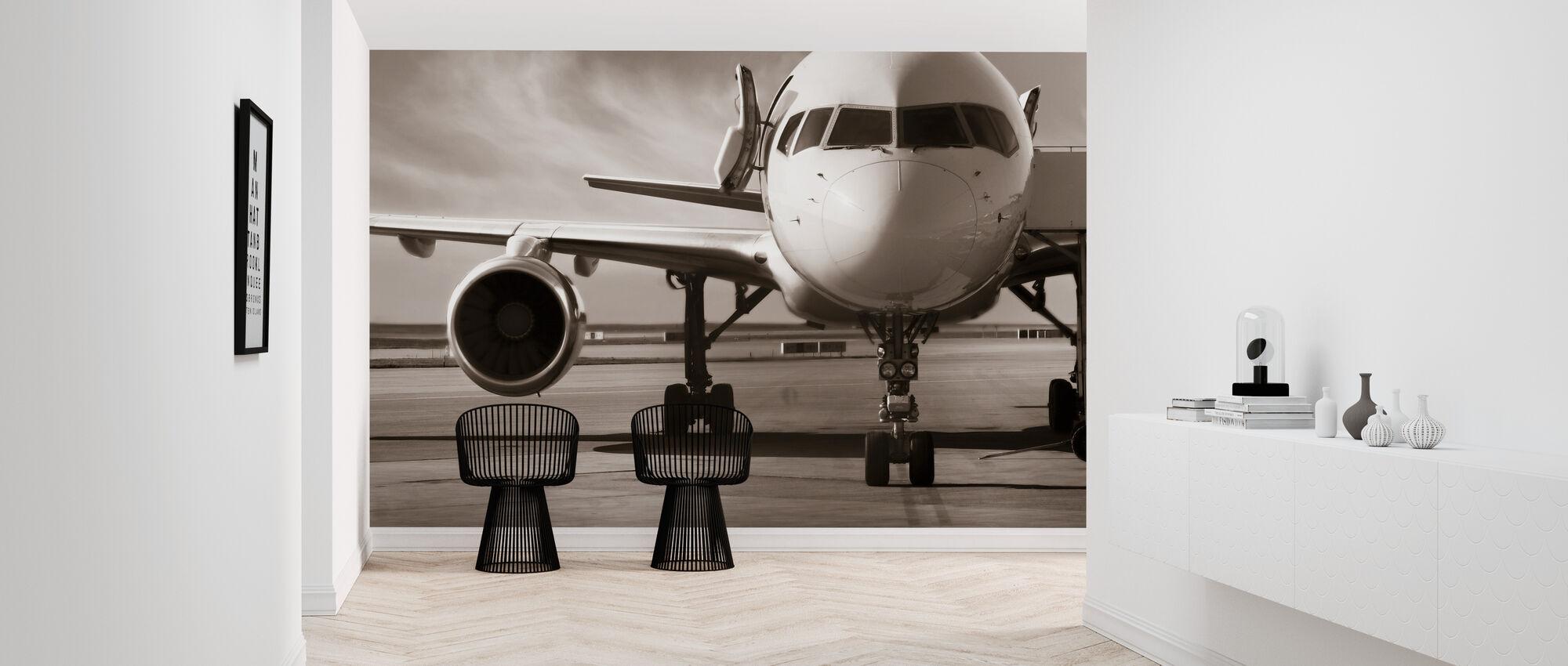 Airplane - Sepia - Wallpaper - Hallway