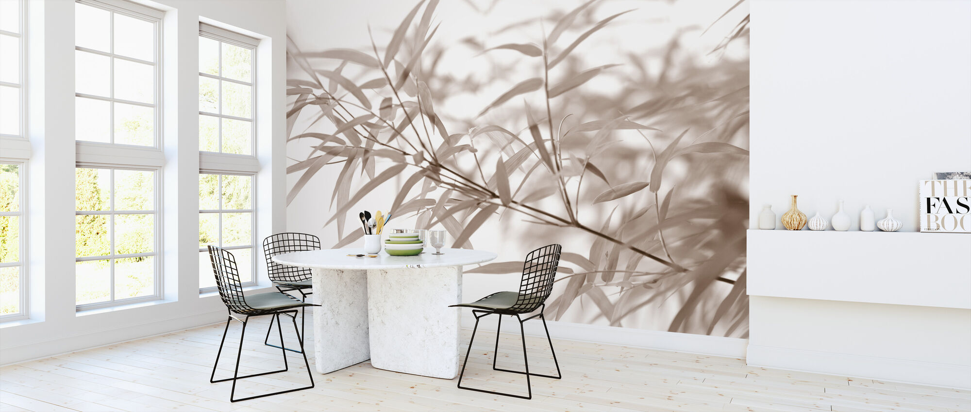 Miniature Bamboo - Sepia - Wallpaper - Kitchen