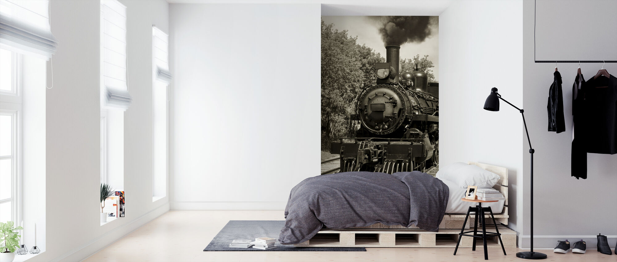 Old Locomotive - Sepia - Wallpaper - Bedroom
