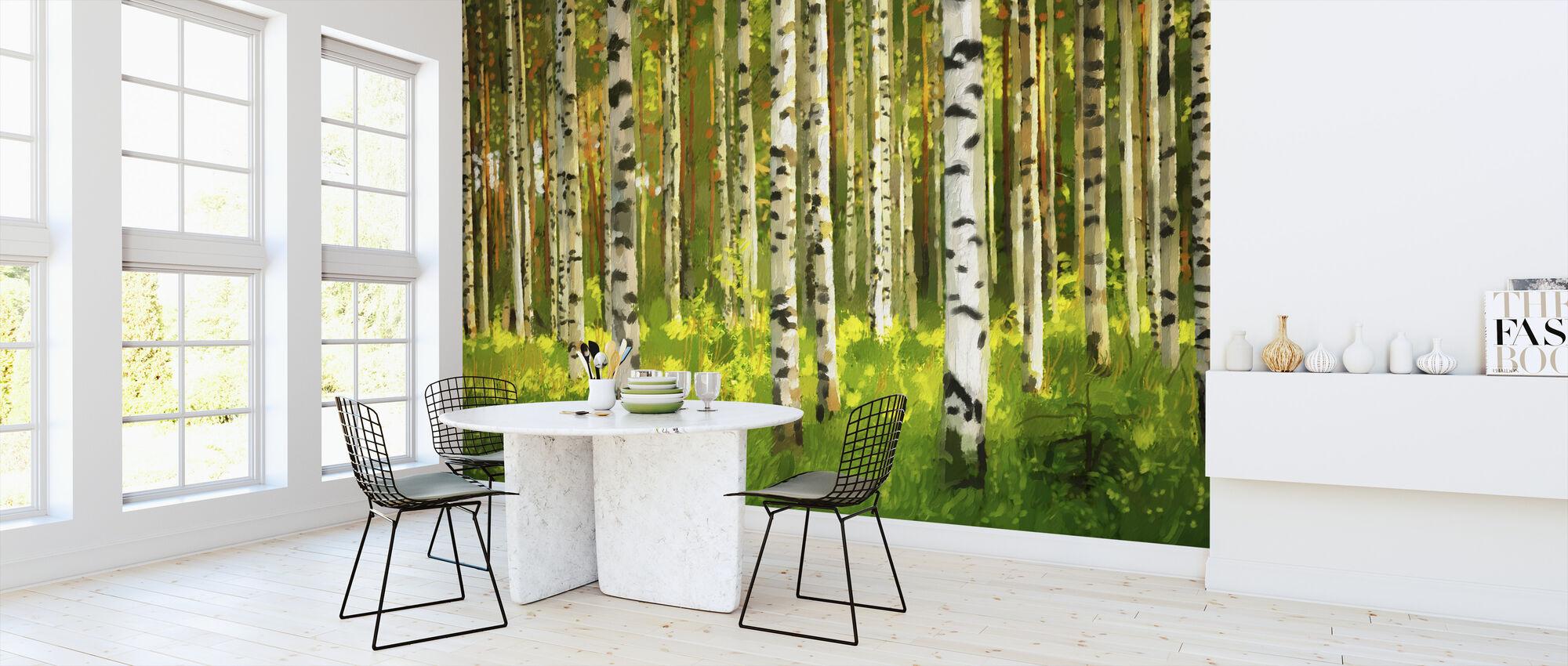 Birch Forest - Oil Painting - Wallpaper - Kitchen