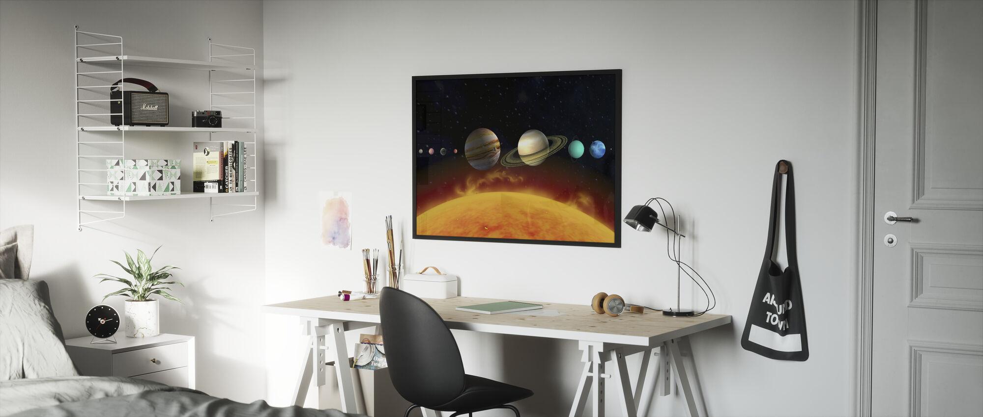 Zon en Planeten - Ingelijste print - Kinderkamer