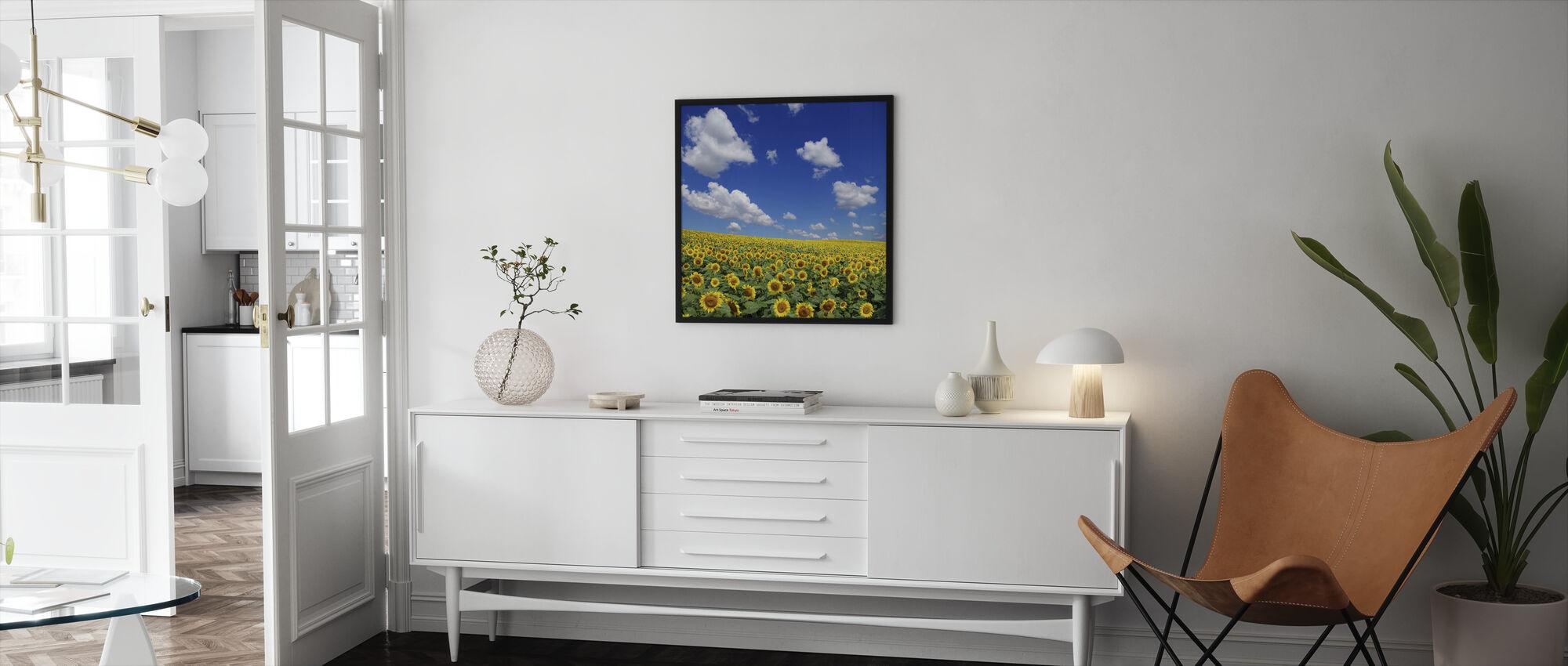 Zonnebloem veld - Ingelijste print - Woonkamer