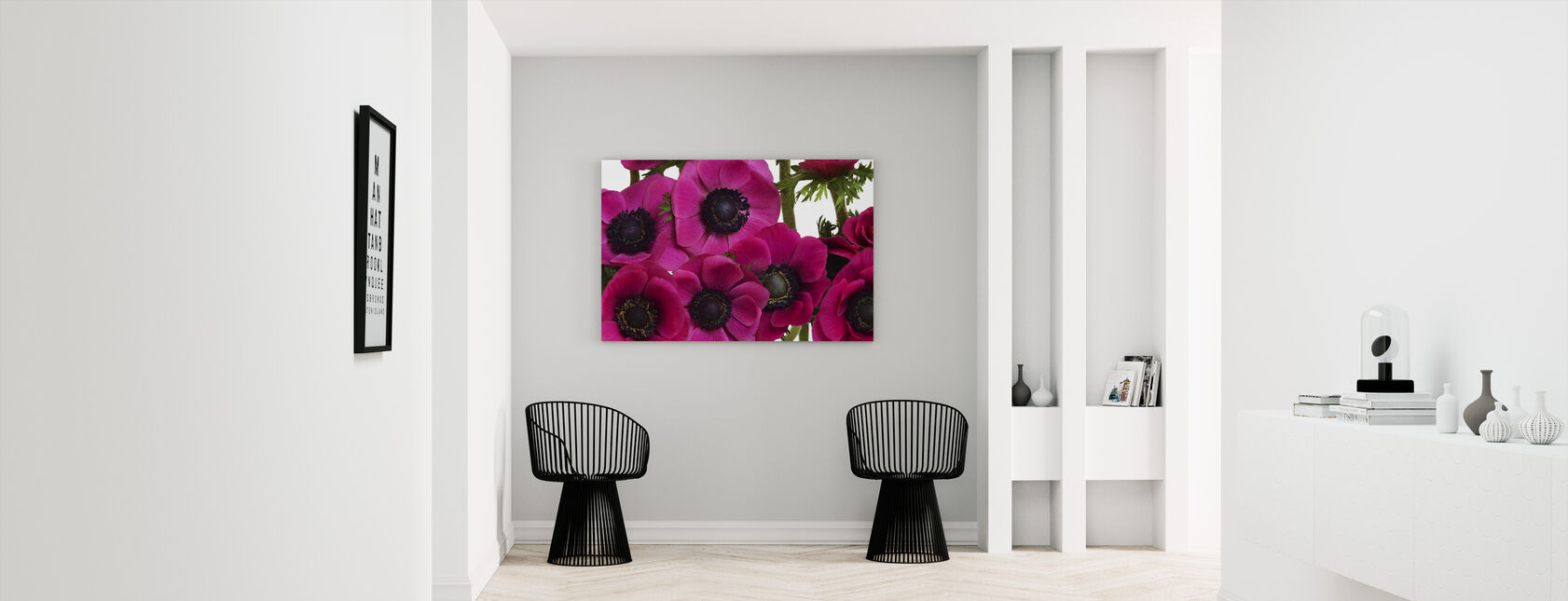 Panoramic Flowers - Pink - Canvas print - Hallway