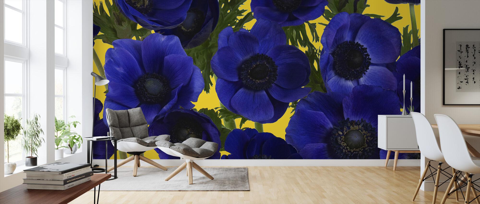 Panoramic Flowers - Yellow - Wallpaper - Living Room