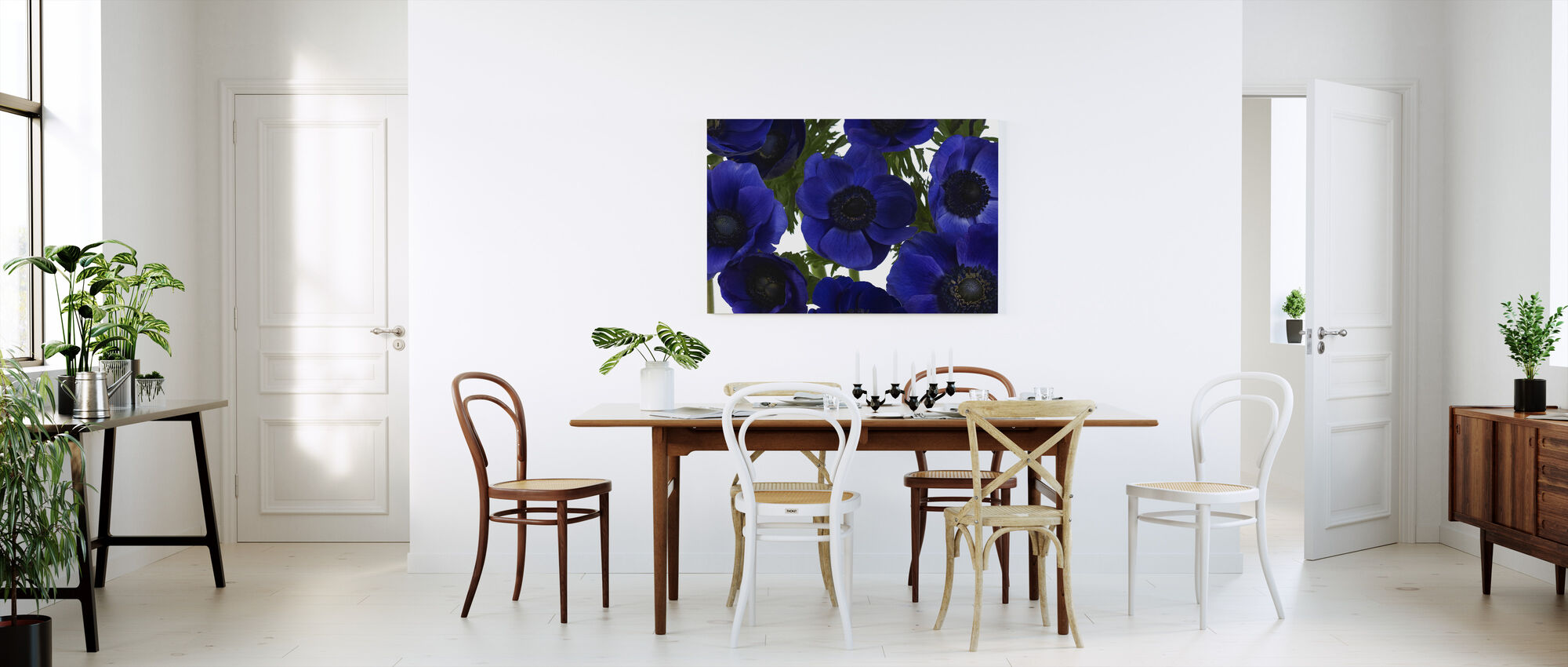 Panoramic Flowers - Blue - Canvas print - Kitchen