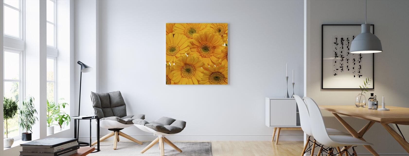 Yellow Gerbera Close Up - Canvas print - Living Room