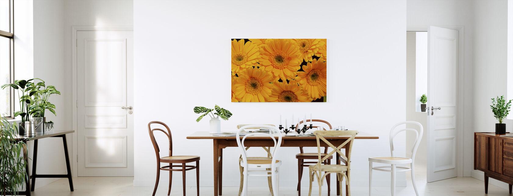 Panoramic Flowers - Black - Canvas print - Kitchen