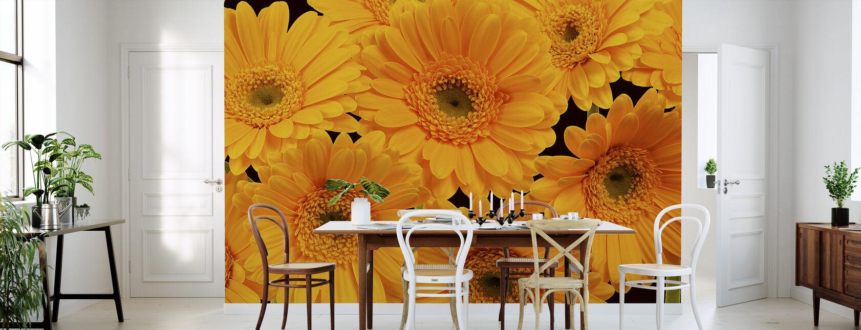 Panoramisk Blomster - Sort - Tapet - Kjøkken