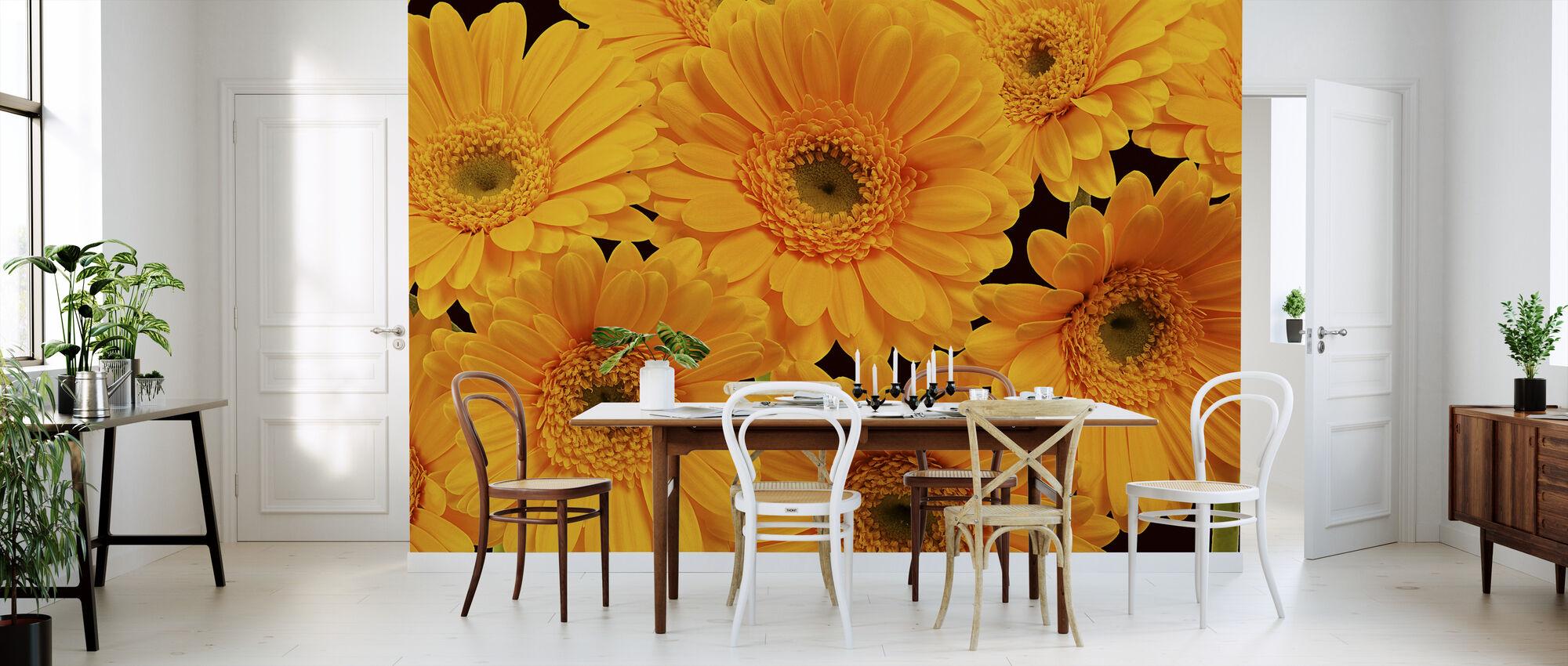 Panoramic Flowers - Black - Wallpaper - Kitchen