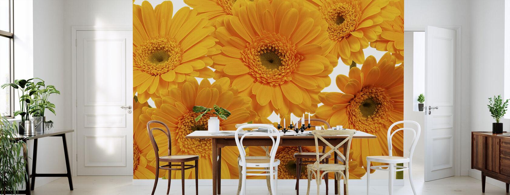 Panoramic Flowers - White - Wallpaper - Kitchen