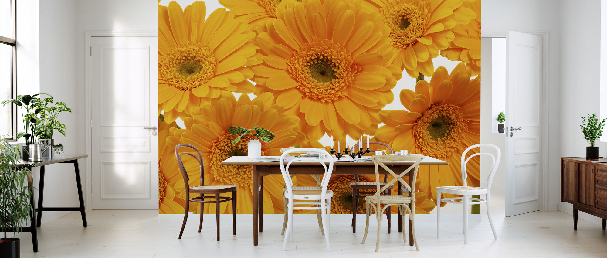 Panoramic Flowers - White - Wallpaper - Kitchen