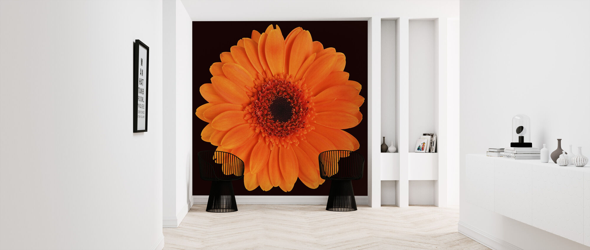 Orange Gerbera - Black - Wallpaper - Hallway
